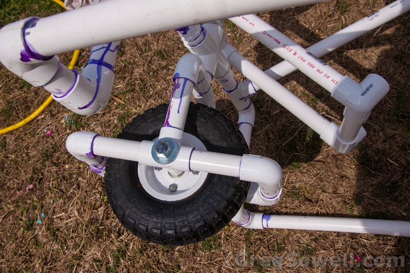 Front wheel floats off of a larger 1 and a quarter cross.